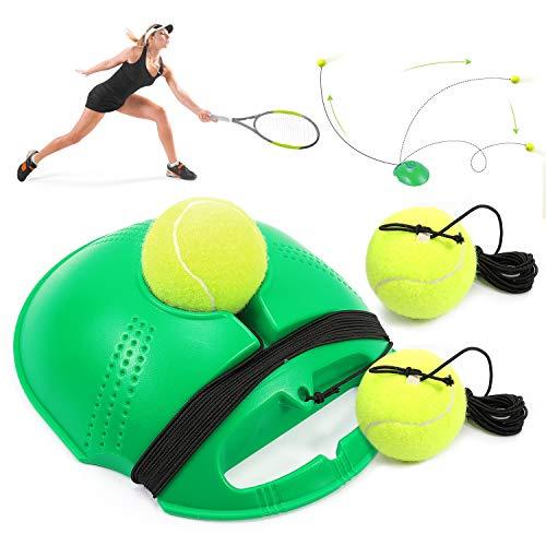 Buluri Tennis Trainer Set Tennisball für Einzel-Tennis Training Übungsbälle Baseboard Rebound Trainingsgerät für Damen und Herren Kinder, Anfänger (Grün)