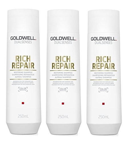 3er Aufbau Shampoo Rich Repair Dualsenses Goldwell Regeneration für geschädigtes Haar 250 ml