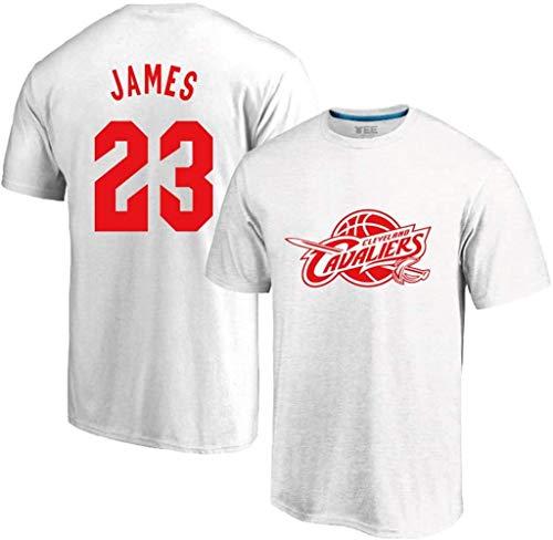 WZ Mens Deportes Adolescentes T-Shirts - Cavs # 23 Lebron James Cuello Redondo Jeysey, Camisetas De Manga Corta Cuello Redondo Ocasional del Verano De Las Tapas,Blanco,3XL:185~190cm