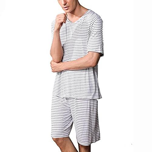 Pantalones Cortos de Manga Corta para Hombre Pijamas Set Summer Casual Home Wear, Camiseta de Manga Corta de algodón para Hombre Top & Shorts 2 Piezas Salón Use Ropa de Dormir Ropa de Dormir