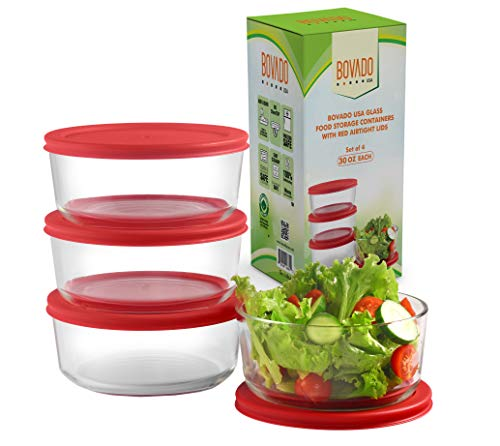 Bovado USA Glass Food Storage Containers with Red Airtight Lids 30oz, 4 Cup Each (Set of 4)   Small Round Mixing Bowls for Meal Prep, Leftovers, Baking, Cooking & Lunch   BPA-Free Kitchen Items