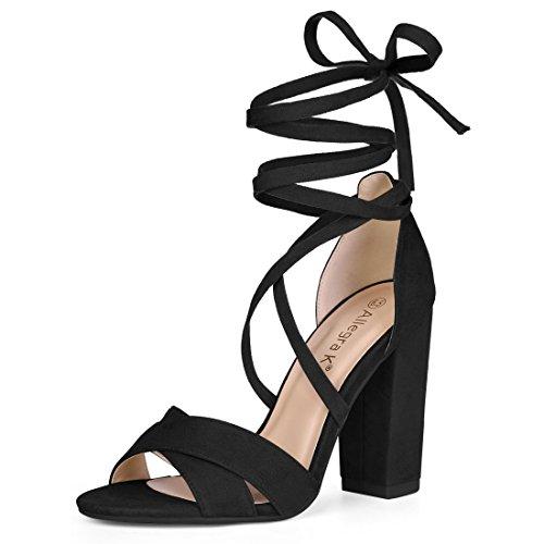 Allegra K Damen Kreuz Vorn Block Absatz Schnüren Sandalen Einstellbar Gurt Sandalette Schwarz 37