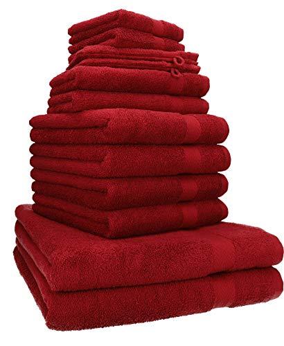 Betz 12-tlg. Handtuch-Set PREMIUM 100% Baumwolle 2 Liegetücher 4 Handtücher 2 Gästetücher 2 Seiftücher 2 Waschhandschuhe Farbe rubinrot