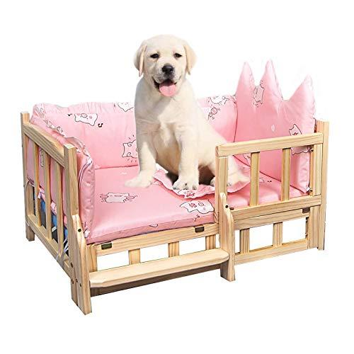 JLXJ Cama para Perros Cama para Perro Niña Rosa para Cachorros Medianos Grandes, Madera Elevada Sofá de Gatos con Escaleras, Colchón Extraíble Lavable, Uso de Four Seasons (Size : X-Large)