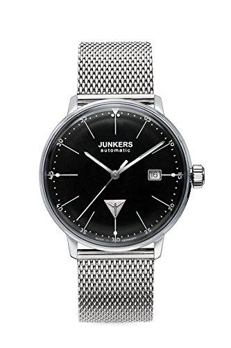 Junkers Bauhaus - Reloj automático para Hombre, Correa de Acero Inoxidable Color Plateado