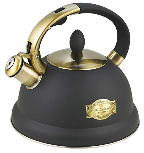 stove kettles Tea Kettle, HOHSCHEID Whistling Tea Kettle Black for Stove Top 18/10 Stainless Steel 3 Liter Teapot with 1 Free Silicone Pinch Mitt