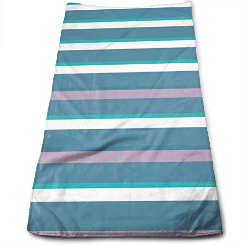 Towels Polyester Cotton,Turquoise Dark Teal Stripes Thick and Thin Lines with Aqua Colors Pattern Art Print,Highly Absorbent Towels for Bathroom