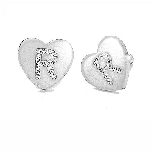 Beloved Orecchini da donna con cristalli in acciaio - con lettera iniziale a forma di cuore - lettera dell'alfabeto in cristalli - Con perno e farfallina - per lobi forati (R)