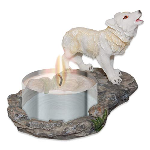 mtb more energy Deko Teelichthalter ''White Wolve'' -Wolf Kerzenhalter - Variante 1 - Höhe 8 cm - Fantasy Figur Dekoration