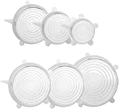 Silicone Stretch Lids 6 Pack Suction Lid - Multi Size Stretchable Covers for Bowls, Cups, Pots, Can, Mason Jar, Food Fresh...