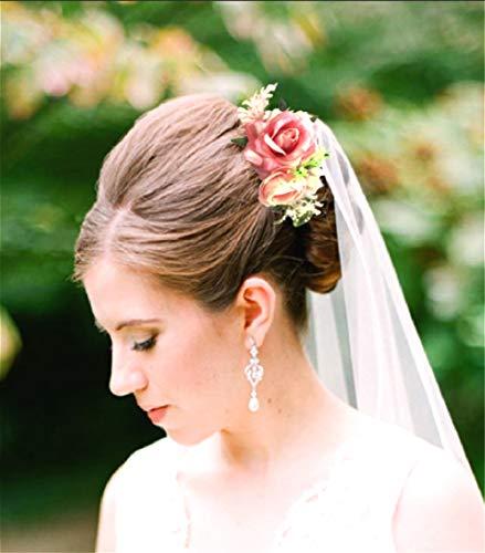 Peigne à cheveux bohème pour mariée - Accessoire de cheveux pour mariage - Avec rose rouge - Barrettes à cheveux - Couronne pour bal de fin d'année