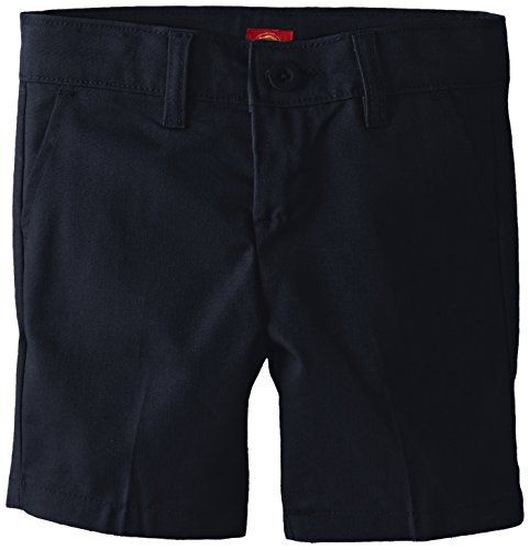 Dickies Girl Big Girls' Flex Waist Slim Fit Flat Front Short, Dark Navy, 8