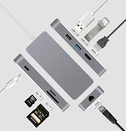 YIWENTEC USB C Dock HDMI Ethernet RJ45 USB 3.1 Tipo-C HUB Adaptador Multipuerto USB3.0 USB C Carga TF Tarjeta SD Convertidor