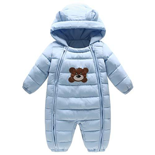 JiAmy Baby Winter Overall mit Kapuze Daunen Schneeanzüge Outfits Bär Strampler Blau 3-6 Monate