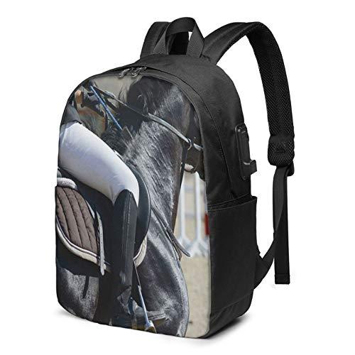 WEQDUJG Mochila Portatil 17 Pulgadas Mochila Hombre Mujer con Puerto USB, Caballo de Deporte de Silla de Montar Mochila para El Laptop para Ordenador del Trabajo Viaje