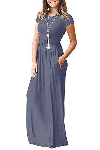 Viishow Casual Loose Plain Maxi Dresses with Pockets, Purple Gray