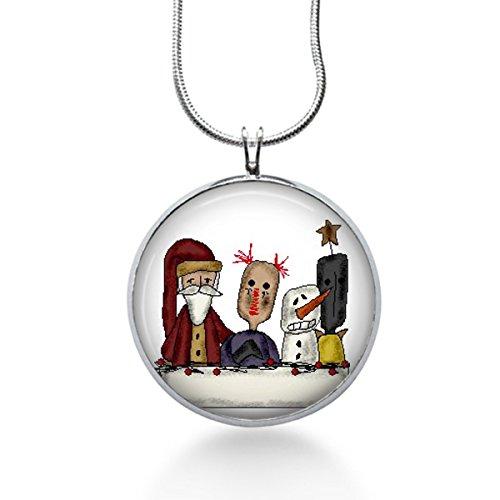 Christmas shabby chic Necklace Raggedy ann doll santa, victorian jewelry