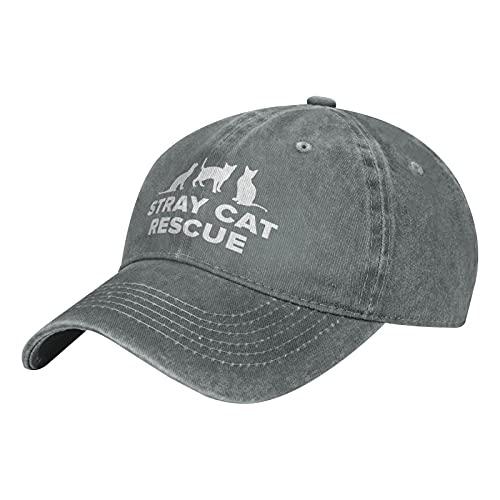 Leumius Sombrero de rescate de gato callejero, algodón lavado vintage, gorras de béisbol ajustables para hombres y mujeres, gris, Talla única