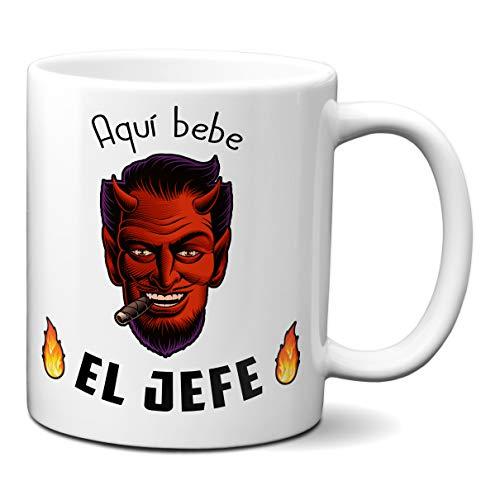 Planetacase Taza Desayuno Aquí Bebe el Jefe Demonio Humor Negro - Regalo para Jefe Original Ceramica 330 mL