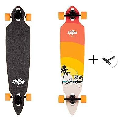 Chillax Longboards - Cruiser Longboard - Hochwertiges Komplettboard inkl. T-Tool – Drop-Through Achsen für mehr Stabilität - ABEC Kugellager für mehr Geschwindigkeit - Deck aus Ahorn-Holz