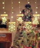 sfesnid 5 in 1 3D Lichtervorhang LED Lichterkette 1.5 Meter 5 Lichter LED USB Fenstervorhang Lichter 8 Modi Dekoration für Weihnachten Deko Party Festen Warmweiß - 6