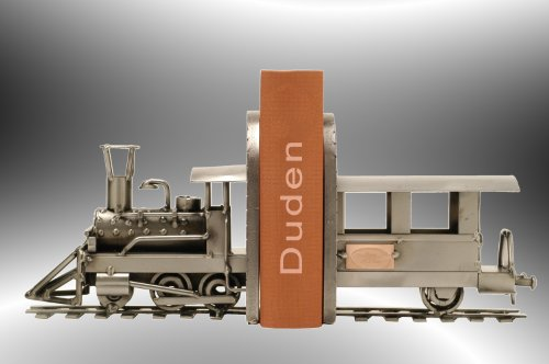 """Boystoys HK Design - Buchstützen Lokomotive """"Bücherregaldeko"""" - Metall Art Buchständer - Deko-Geschenkideen Eisenbahn - hochwertige Original Schraubenmännchen-Lok handgefertigt"""