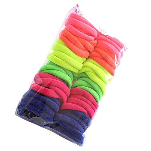50 Pièces Femmes Filles Cravates de Bandes de Cheveux Multicolore Cheveux Bande de Cheveux Élastique Porte-Queue de Cheval, 2.5 cm de Diamètre (B)