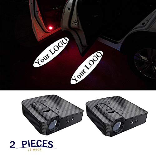 2PCS Carbon Fiber Texture Universal Wireless Universal Car Projection LED Projector Door Shadow Logo Light Welcome Lamps Courtesy Lights Kit Sensor (Customize-Now)