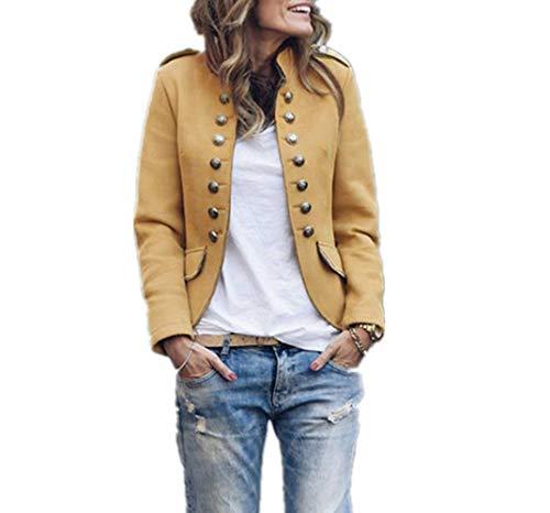 GWEI Elegante chaqueta de traje para mujer con tira de botones, estilo militar, para el tiempo libre, para negocios, oficina, traje. amarillo L