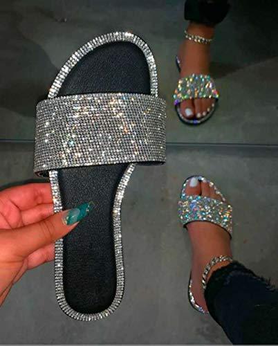CCSSWW Sandalias de Verano Zapatos de Playa,Zapatillas Planas Zapatos de Mujer de Colores-Negro_41,Chanclas de Playa Transpirables con Plantilla de Eva