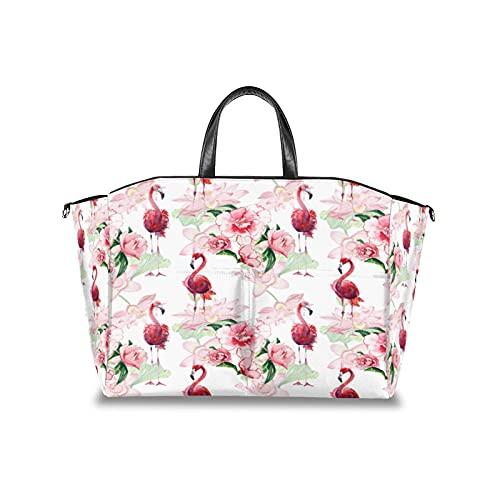 Bolsa para pañales, diseño de peonía, hojas de flamenco, multifuncional, organizador de cochecito de bebé, impermeable, para mamá, bolsas de viaje con correa de velcro ajustable