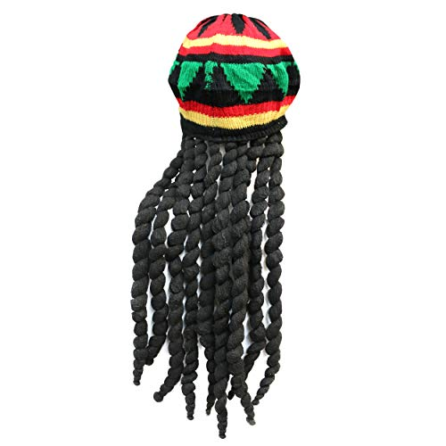 NEU Damen Herren Erwachsene Jamaikanisch Hut Perücke mit Dreadlocks Bob Marley Kostüm
