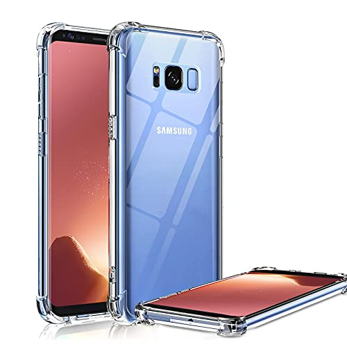 Galaxy S8 Case Crystal Clear Shockproof Bumper Protective Cell Phone Case for Samsung Galaxy S8 5.8 Inch Transparent Pure TPU Back Covers for Men Women Boys Girls Flexible Slime Fit Rubber Silicone