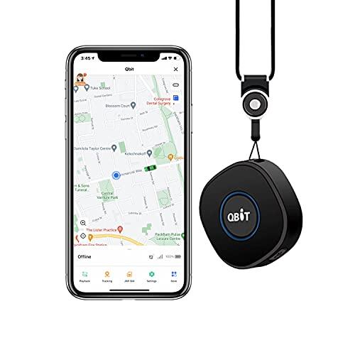 Mini Localizador GPS para Niños, Tracker Tiempo Real Botón SOS, Llamada Bidireccional, Grabación, Geo-Fencing, Zumbador, Alarma de Decibelios Altos, Rastreador para Ancianos Alzheimer Amnesia con SIM