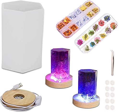 Lámpara LED NIANGAO, molde de resina epoxi, molde de resina hexagonal, molde de silicona DIY, adecuado para suministros de arte de decoración del hogar