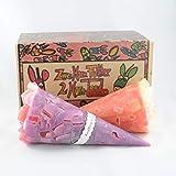 """Kunstkerze """"2.Horn.Food - Pastell Pink"""" – handgemachte Kegelkerzen mit einzigartigem Leuchteffekt im 2er Geschenkset"""