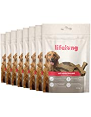 Marchio Amazon - Lifelong - Snack per cani, ricco di proteine, con manzo (8 confezioni da 300gr)