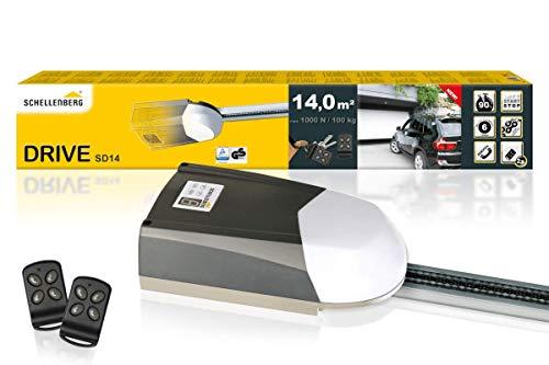 Schellenberg 60914 motor puerta garaje basculante Smart Drive 14 hasta 14m², con fuerza 1000 N, incl. 2 mandos a distancia y desbloqueo de emergencia, gris