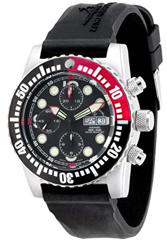 Zeno-Watch Herrenuhr - Airplane Diver Automatic Chronograph Points, Black/red - 6349TVDD-3-a1-7