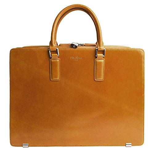 Dom Teporna Italy Full Grain Italian Leather Briefcase for Men Business Bag Designed in Japan - Brown
