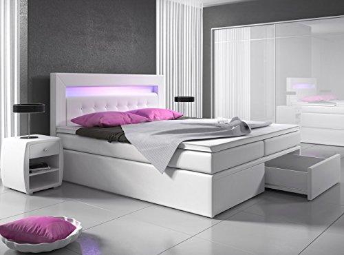 Wohnen-Luxus Boxspringbett 160x200 Weiß mit Bettkasten LED Kopflicht Kunstleder Hotelbett Polsterbett Venedig