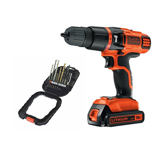 Black + Decker 18V Lithium Ion 2 Gear Hammer Drill and 16 piece accessory Set Bundle