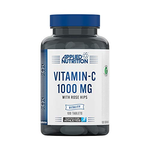 Applied Nutrition Vitamin C 1000mg 100 tablets (3 Months Supply) L Ascorbic Acid With Rose Hips - Immune System Support - Suitable For Vegans & Vegetarians