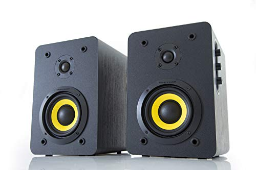 Thonet and Vander Vertrag BT Bluetooth Bookshelf Speakers (180 Peak Watts) Compact 2.0 Studio Monitors - Enhanced Bass Speaker System (Black) Works with iOS/Android/MacOS/Windows - German Engineered