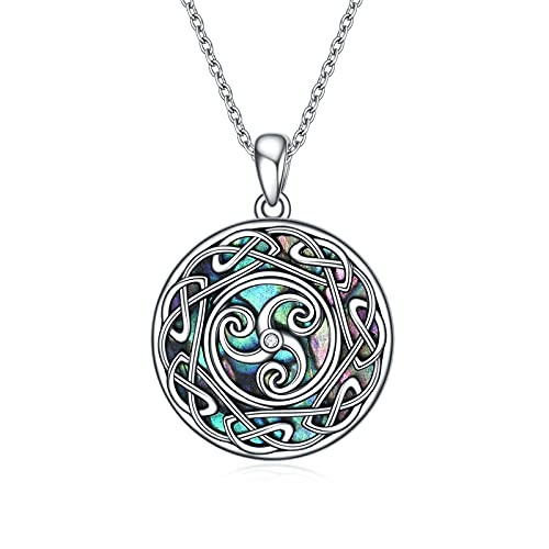 POPLYKE Viking Celtic Triskele Trinity Knot Necklace with Abalone Shell Sterling Silver Good Luck Irish jewelry