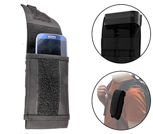 Clakit Outdoor Handy-Tasche XL mit Klemmhalterung Rucksack 9,5x16,5cm Smartphonetasche Schutzhülle für Apple, Samsung, HTC, Huawei, Sony, Schwarz
