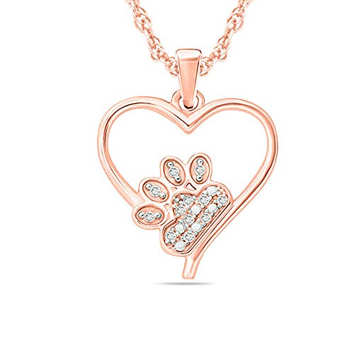 Round Cut 0.25Ct Sim Diamond Accent Paw Print Heart Pendant In 925 Sterling Silver With 14K Rose Gold Plated