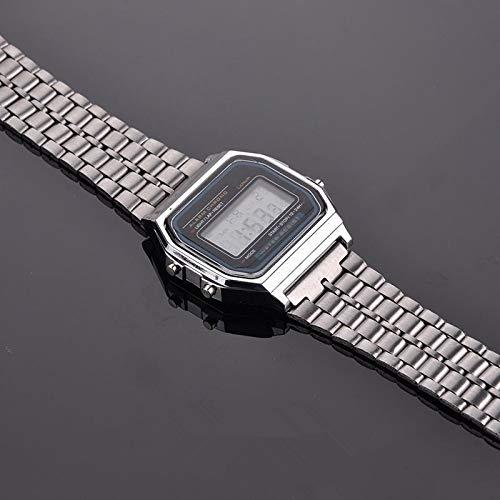 GKXAZ Mode Weinlese-Frauen-Männer Edelstahl-Quadrat-Digital-Stoppuhr-Armbanduhr