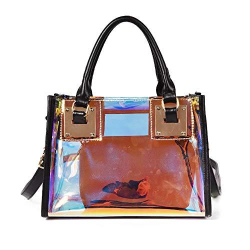 AlwaySky Damenmode Transparente Tasche 2 in 1 Handtasche Top Griff Tote Schulter Crossbody Tasche (Laser-Schwarz)