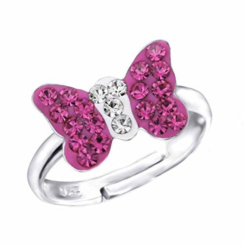 SL-Silver, anello con farfalla di cristallo, in argento Sterling 925, misura regolabile, custodia portagioielli inclusa, da donna e da ragazza e Argento, 0, colore: Pink, cod. SL-kinderring48